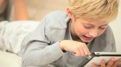 Young Boy with Wireless Tablet Stock Footage