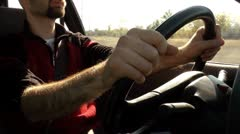 man driving - stock footage