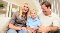 Caucasian Family   Communicating Via Online Webchat - stock footage
