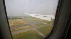 View from plane touchdown in Bangkok Stock Footage