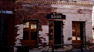 Old Historic Bank Building with Firey Reflections Stock Footage