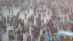 Crowds of people in Jemaa el fna, Marrakech Stock Footage