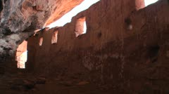 Sunlight shines through an ancient Anasazi ruin in Utah. Stock Footage