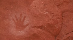 American Indian handprints on a wall. - stock footage