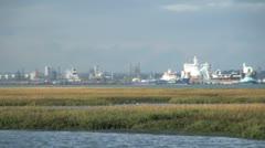 Calshot Marshes Nature Reserve and Southampton Docks, Hampshire, England Stock Footage