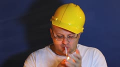Worker smoking - stock footage