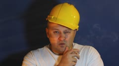 Worker smoking Stock Footage