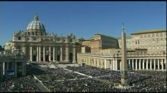 Pope Benedict  canonization noon 10-24-11 Stock Footage