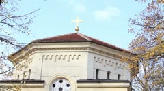 Skull tower (close up of the orthodox cross on top of the building) Stock Footage