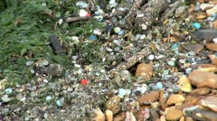 Pollution on a Beach Stock Footage