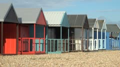 Colourful Beach Huts Stock Footage