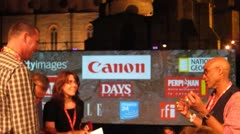Press Photographers at the Visa pour l'Image Photo Festival, Perpignan, France Stock Footage
