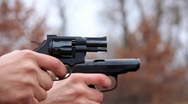 Revolver and pistol shooting Stock Footage