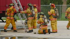 Firefighters  training - stock footage
