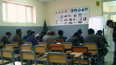 Afghans men learning about traffic in the school Stock Footage