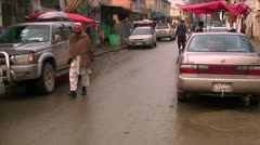 People walk on the streets of Kabul in Afghanistan Stock Footage