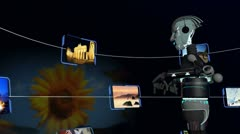 3D Robot Accessing Travel Locations by Touchscreen - stock footage
