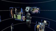 CG Robot Technology with Touchscreen Data Stock Footage