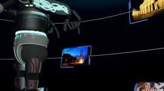 CG Robot Accessing Travel Destination Touchscreen Stock Footage