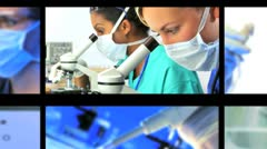 Multiple Montage Images of Medical Research Stock Footage