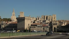 Pope's palace in Avignon, France - stock footage