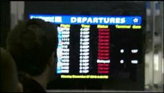 Snowstorm travel flights delayed airport Stock Footage