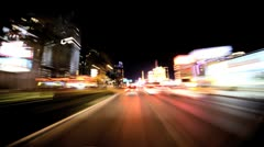 Timelapse Point of View of the Streets at Night in Las Vegas Stock Footage