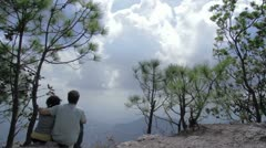 Couple in high mountain - stock footage