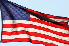 High Speed Camera USA Flags 21 Slow Motion Loop Stock Footage