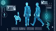 Digital Motion Graphic of Virtual Walking Man Stock Footage