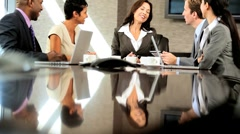 Boardroom Meeting of Multi Ethnic Business Team - stock footage