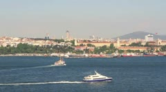 Catamaran ferry sails in Istanbul Stock Footage