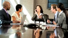Multi Ethnic Business Team Boardroom Meeting Success Stock Footage