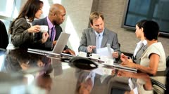 Multi Ethnic Business Team Meeting in Boardroom - stock footage