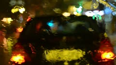 Heavy rain on windscreen at night Stock Footage