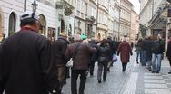 Tourists walk through Old Town in Prague, Czech Republic. Stock Footage