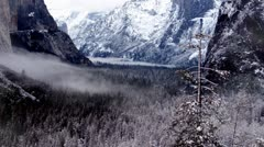 Winter Scene at Yosemite National Park with Snow and Fog Stock Footage
