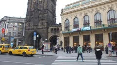 Tourists walk in historic city centre of Prague, Czech Republic. Stock Footage