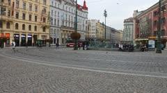 Tram rides through pedestrian zone in Prague Stock Footage