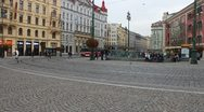 Tram rides through pedestrian zone in Prague Stock Footage