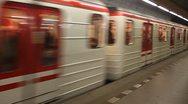 Metro train is arriwing at station Mustek  in Prague Stock Footage