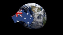 Australia map flag over rotating globe animation - stock footage