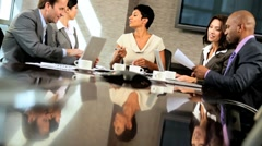 Ambitious Multi Ethnic Business Team in Boardroom - stock footage