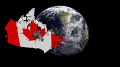 Canada map flag over rotating globe animation - stock footage