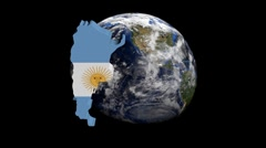 Argentina map flag over rotating globe animation Stock Footage