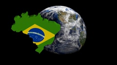 Brazil map flag over rotating globe animation - stock footage