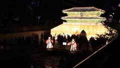 Korean traditional lanterns and spectators in Cheonggyecheon Lantern Festival Stock Footage