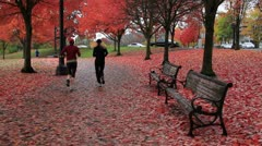 Public Waterfront Park Portland Oregon in Autumn Stock Footage