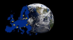 EU map flag over rotating globe animation - stock footage