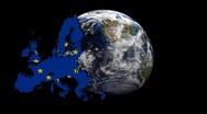 EU map flag over rotating globe animation Stock Footage